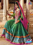 AZ 1047Green and Multicolor Embroidered Cotton Silk Anarkali Suit