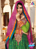 AZ 1047Green and Multicolor Embroidered Cotton Silk Anarkali Suit - Anarkali Suits - NEW SHOP