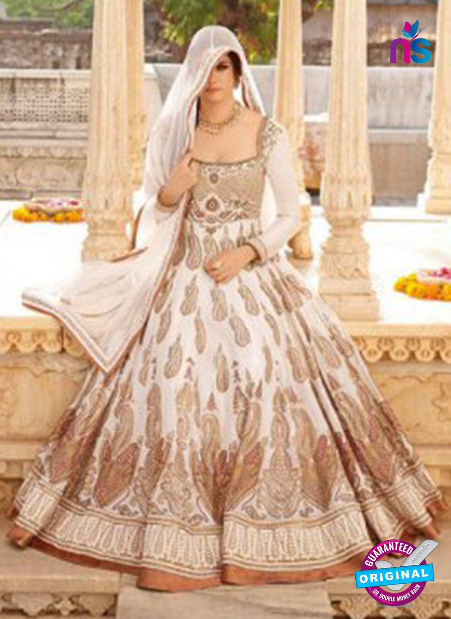 AZ 1048 White and Beige Embroidered Cotton Silk Anarkali Suit