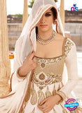 AZ 1048 White and Beige Embroidered Cotton Silk Anarkali Suit - Anarkali Suits - NEW SHOP