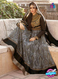 AZ 1049 Black and Grey Embroidered Cotton Silk Anarkali Suit
