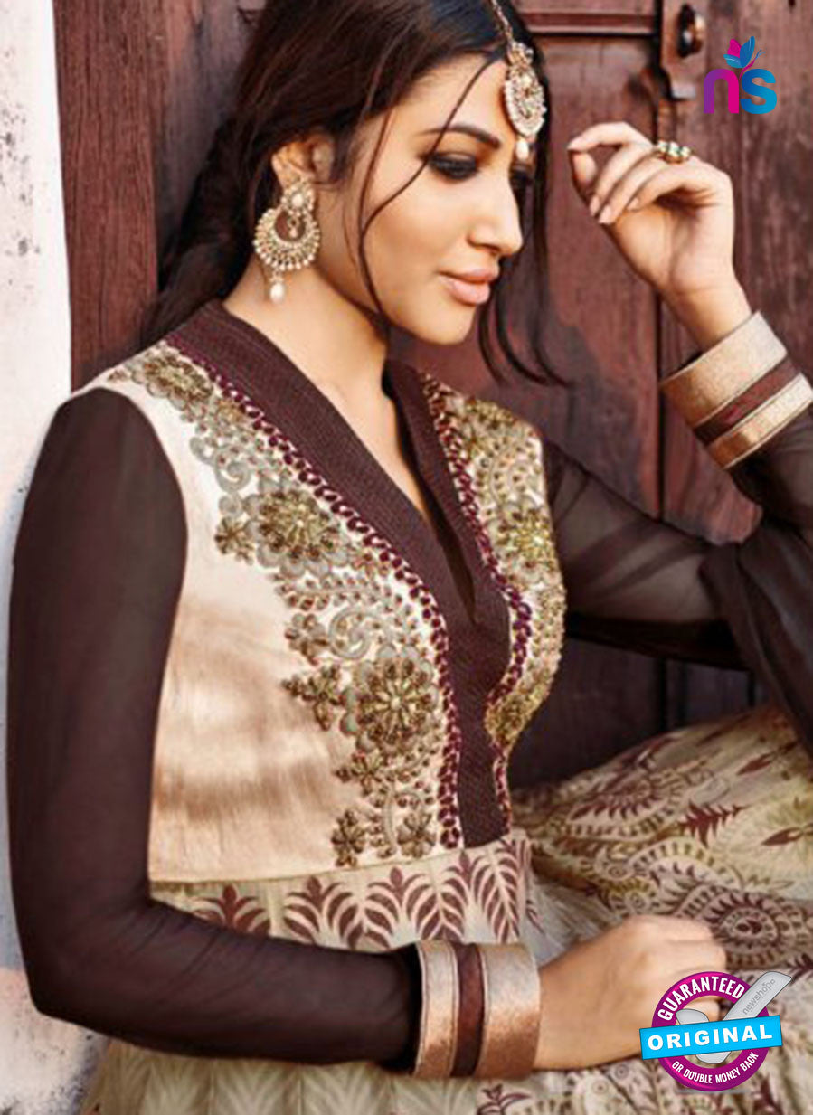 AZ 1050 Brown and Beige Embroidered Cotton Silk Anarkali Suit