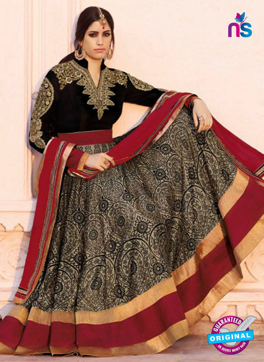 AZ 1051 Black and Maroon Embroidered Cotton Silk Anarkali Suit