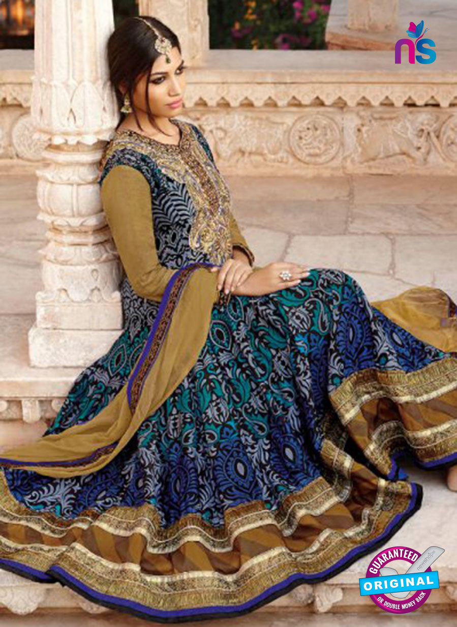 AZ 1052 Beige and Blue Embroidered Cotton Silk Anarkali Suit