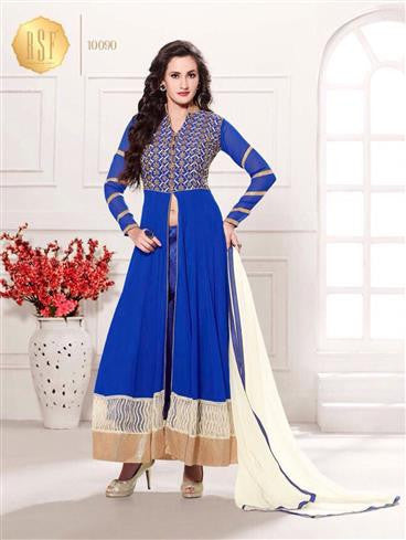 NS11913  Blue and White Party Wear Georgette Anarkali Suit