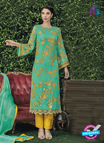 Jinaam 8661 B Green Chiffon Plazo Suit