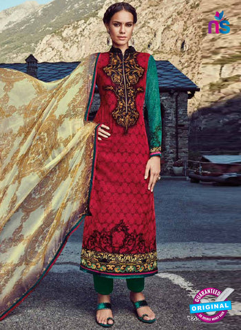 Jinaam 8687 Red Micro Velvet Designer Straight Suit