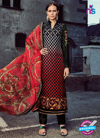 Jinaam 8691 Red Micro Velvet Designer Straight Suit
