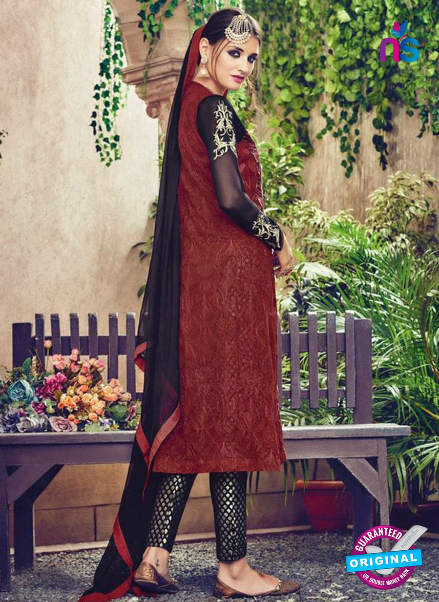 Omtex 86 Black and Maroon Georgette Suit