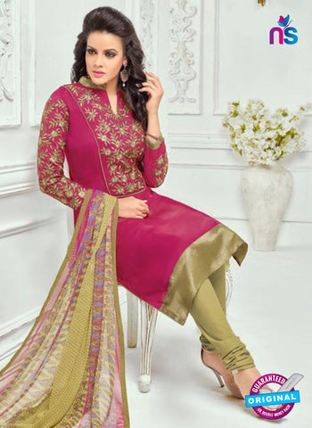 SC 13371 Magenta and Beige Chanderi Cotton Designer Long Straight Suit
