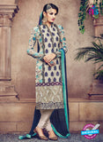 Omtex 87 Beige and Green Georgette Suit