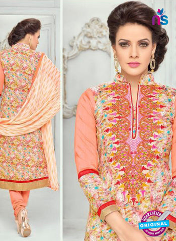 SC 13372 Peach and Multicolor Chanderi Cotton Designer Long Straight Suit