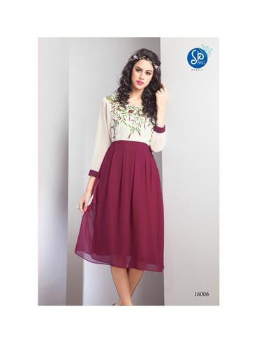 NS11764 Ivory and Maroon Georgette Kurti