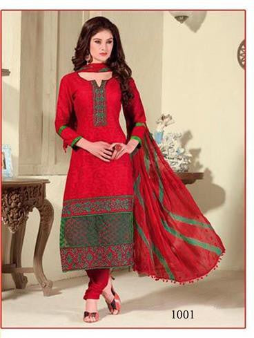 NS11435 Red and DarkOliveGreen Cotton Jaqcuard Party Wear Straight Suit