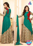 LT 88003 Sea Green and Multicolor Digital Printed and Embroidered Pure Crape and Georgette Party Wear Designer Gawn