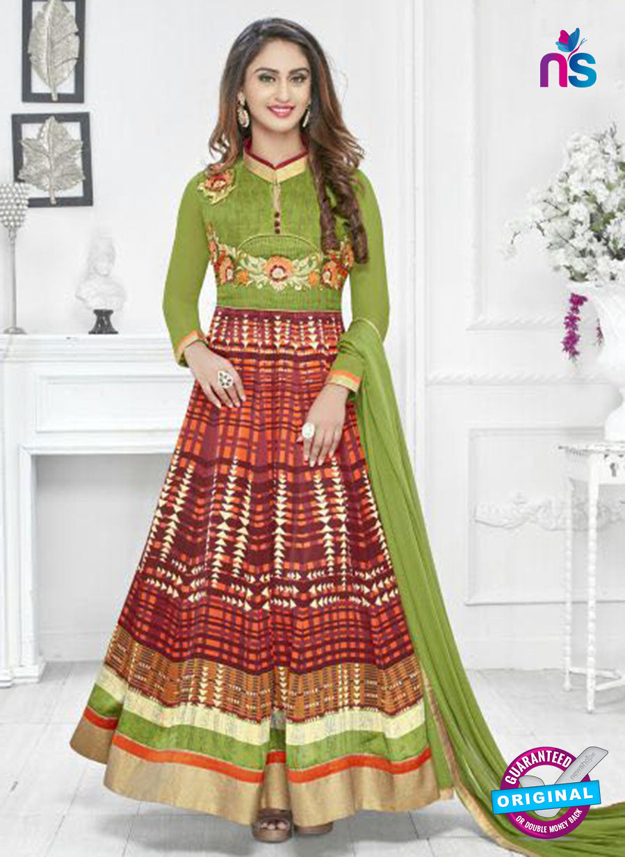 SC 14238 Green Satin Designer Anarkali Suit