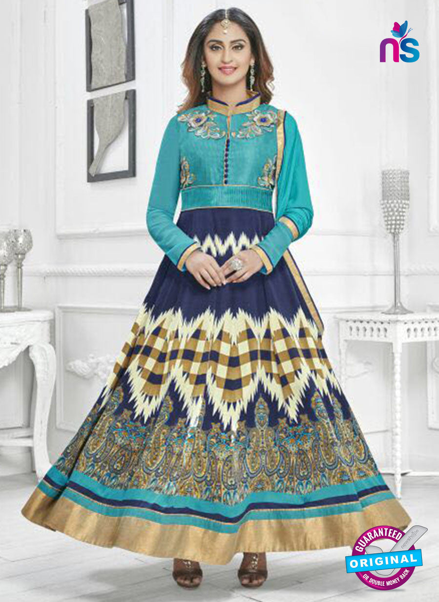 SC 14242 Blue Satin Designer Anarkali Suit