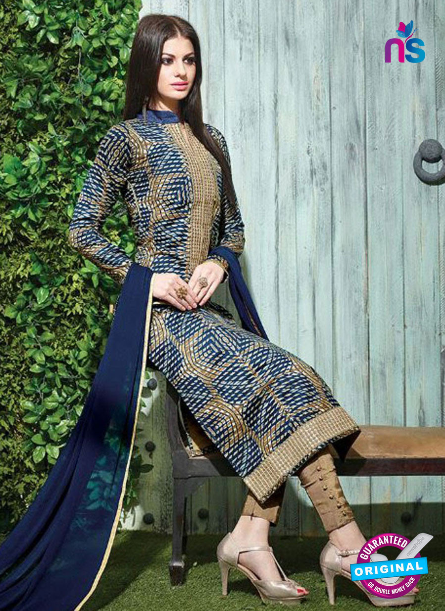 SC 12616 Blue and Brown Printed Pure Cotton Satin With Work Party Wear Straight Suit