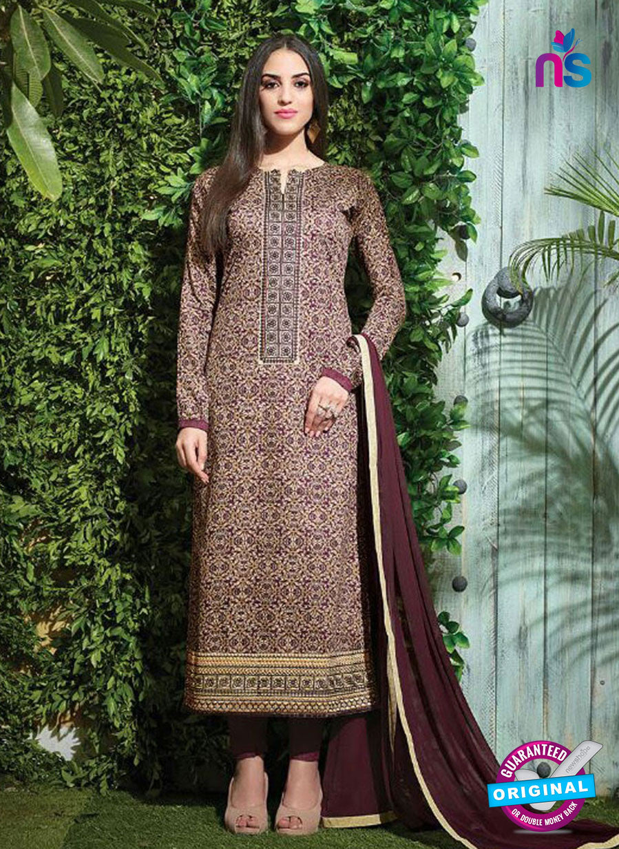 SC 12611 Maroon and Beige Printed Pure Cotton Satin With Work Party Wear Straight Suit