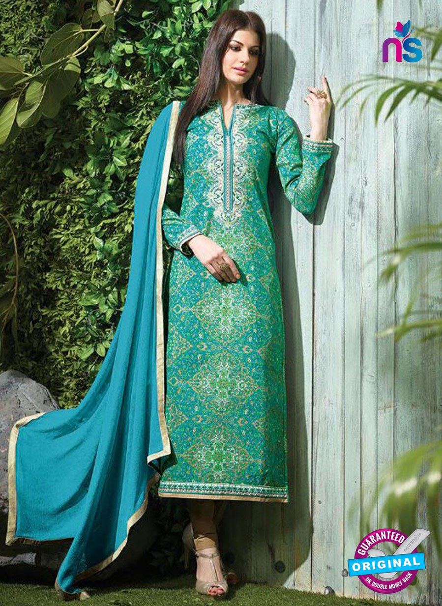 SC 12615 Green and Multicolor Printed Pure Cotton Satin With Work Party Wear Straight Suit