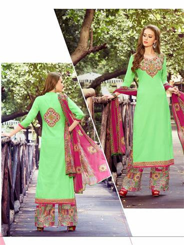 NS11748 Green and Multicolor Party Wear Cotton Straight Suit