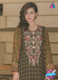 NS 12373 Green and Multicolor Embroidered Printed Lawn Party Wear Suit