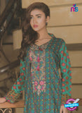 NS 12372 Blue and Multicolor Embroidered Printed Lawn Party Wear Suit