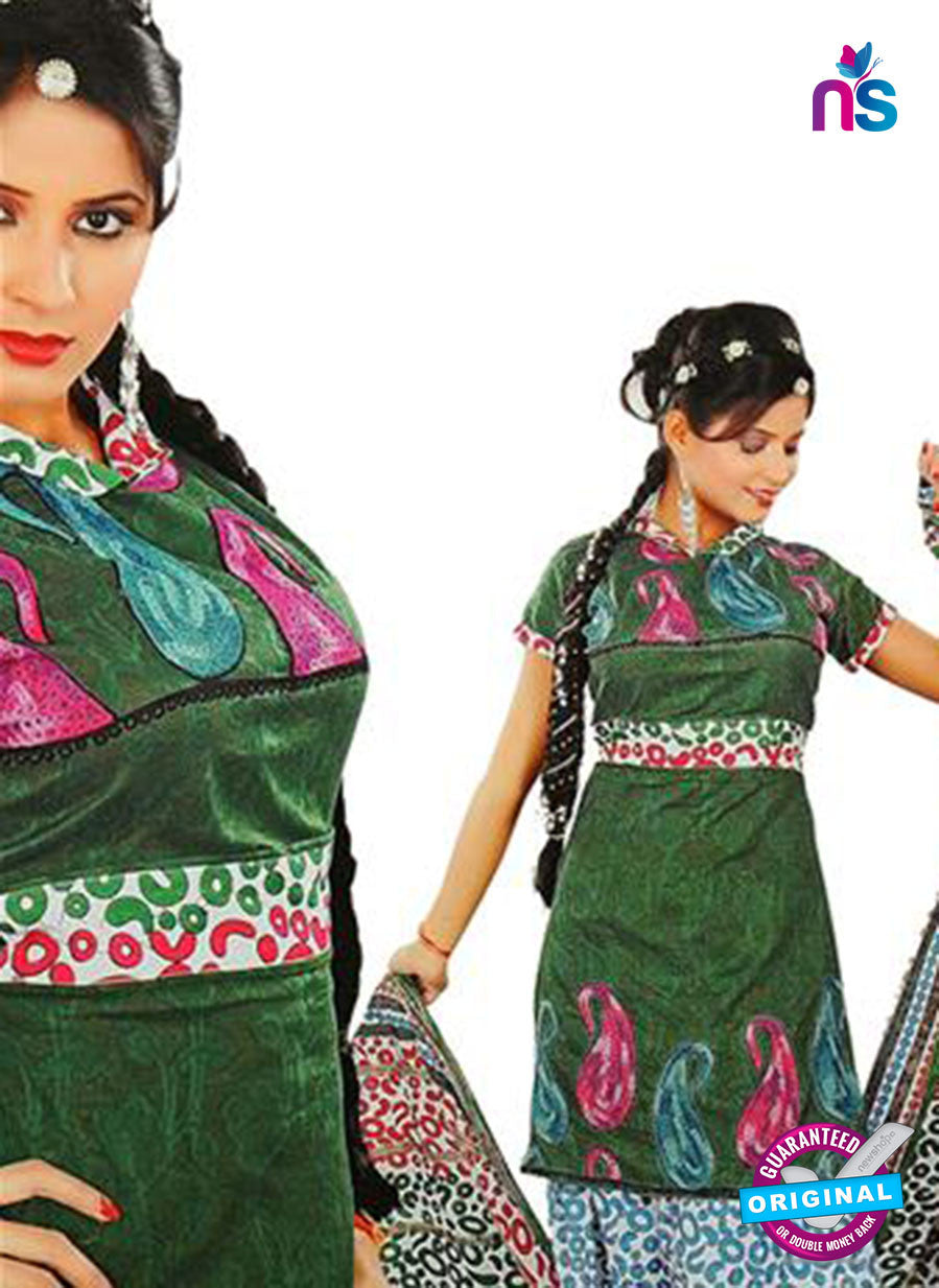 NS12247 Mehandi Green and White Salwar Suit