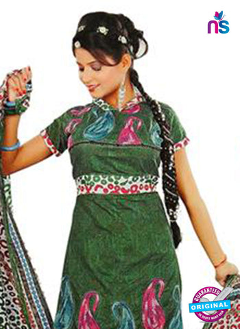 NS12247 Mehandi Green and White Salwar Suit Online