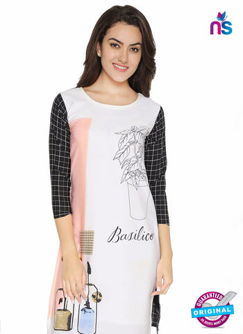 AZ 5190 White Crepe Formal Kurti