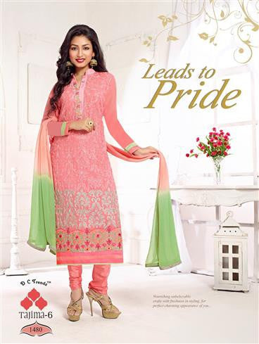 NS11787  Pink Georgette Straight Suit