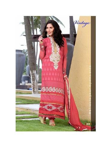 NS11866  White and Light Coral Georgette Straight Suit