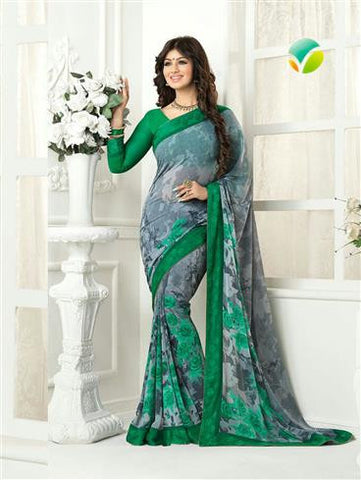 Vinay Fashion Star Walk 16982  Grey and Green Casual Georgette Saree