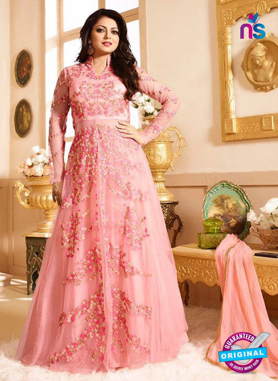 LT 90002 Pink and Multicolor Embroidered Net Party Wear Desiger Gawn