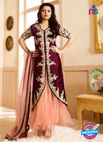 LT 90006 Maroon and Peach Embroidered Pure Silk Party Wear Desiger Gawn