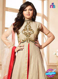 LT 90008 Beige and Red Embroidered Silk Party Wear Desiger Gawn