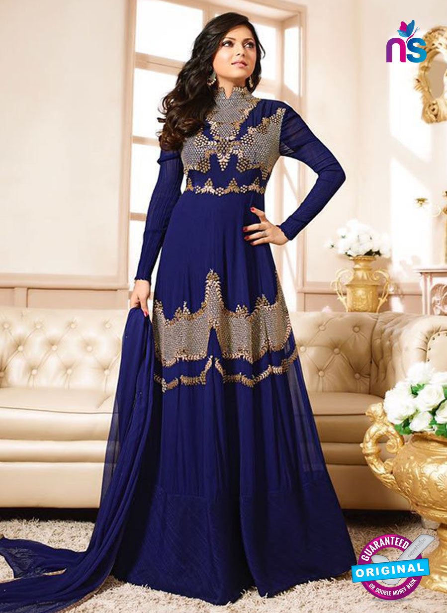LT 90010 Blue Embroidered Georgette Party Wear Desiger Gawn