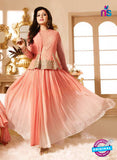 LT 90011 Peach Embroidered Georgette Party Wear Desiger Gawn