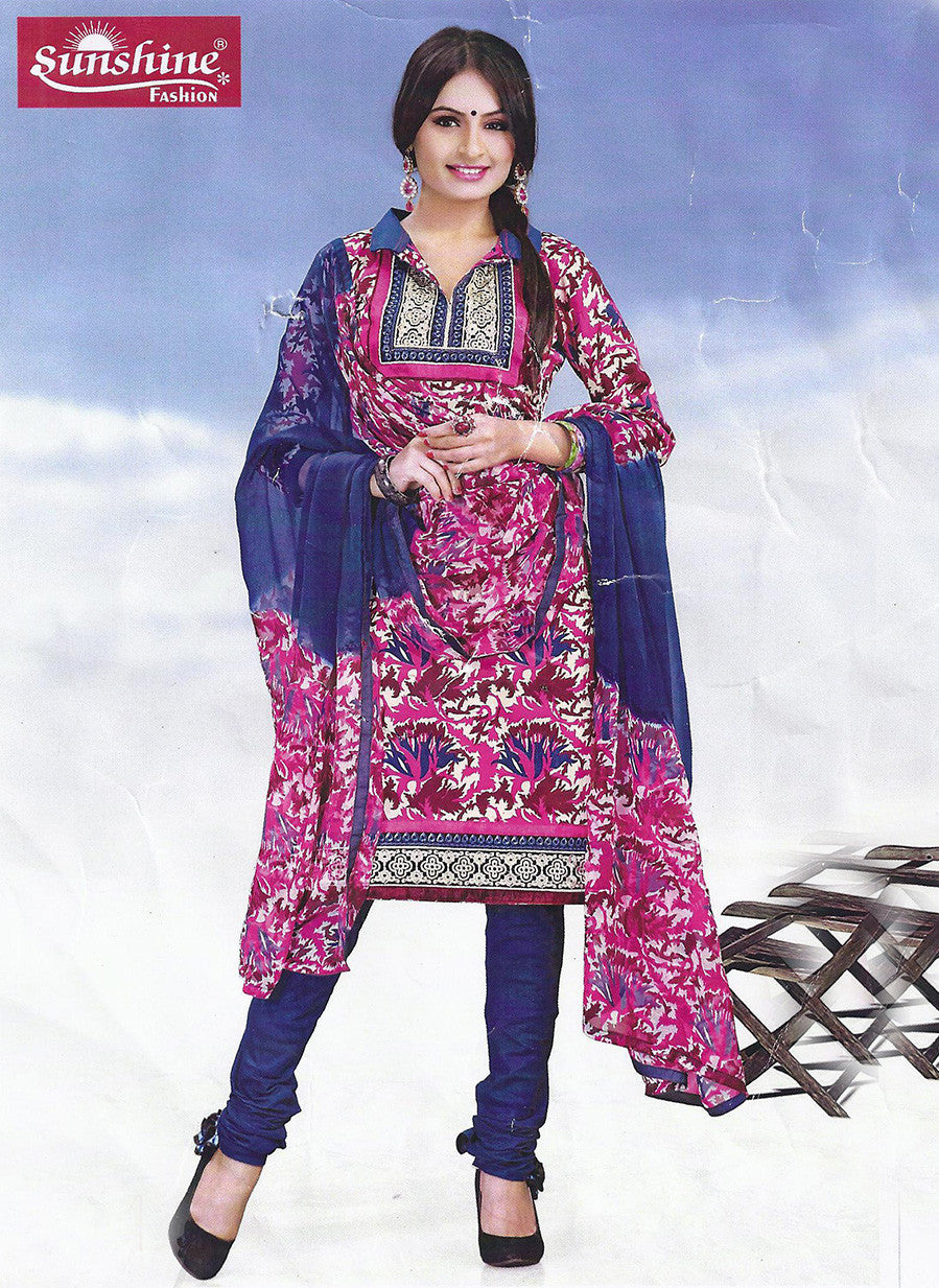 Sunshine 9001 A  Pink & Blue Color Cotton Designer Suit