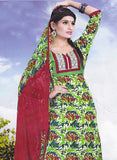 Sunshine 9001 B  Red & Green Color Cotton Designer Suit