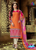 SC 12766 Orange and Magenta Printed Pure Cambric Pakistani Straight Suit