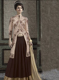 NS10651  Brown & Peach Color Banarasi Georgette Designer Lehenga