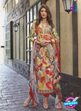 SC 13248 Red and Multicolor Party Wear Satin Cotton Pakistani Style Indian Suit