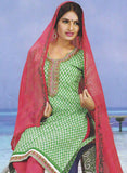 Sunshine 9002 C  Green & Red Color Cotton Designer Suit