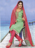 Sunshine 9002 C  Green & Pink Color Cotton Designer Suit