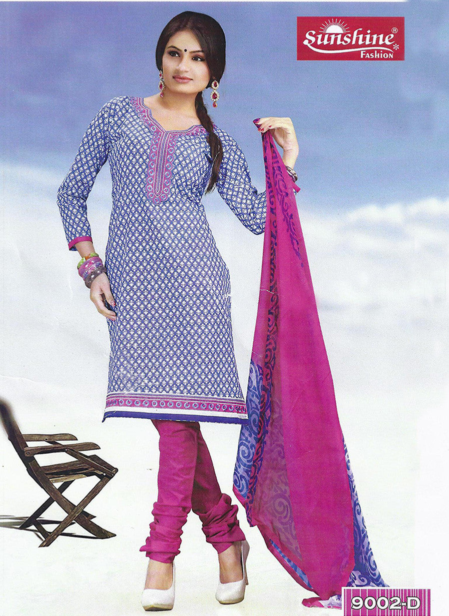 Sunshine 9002 D  Blue & Pink Color Cotton Designer Suit