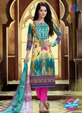 SC 12765 Green and Magenta Printed Pure Cambric Pakistani Style Straight Suit
