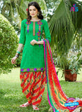 KalaKirti 9002 Green and Red Cotton Designer Suit