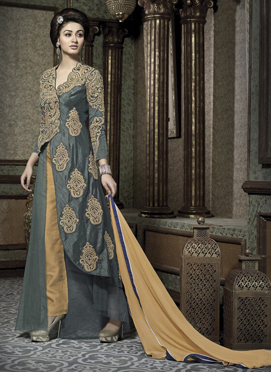 NS10652  Grey & Yellow Color Banarasi Santoon Designer Lehenga