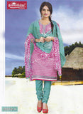 Sunshine 9002 A  Pink & Blue Color Cotton Designer Suit